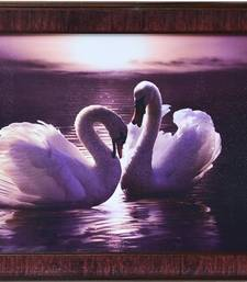 Buy 2 Swans Design Satin Matt Texture Framed UV Art Print painting online