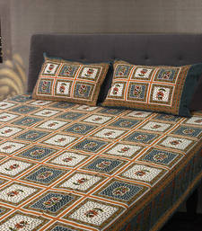 Buy Sanganeri Floral Printed Cotton Double Bedsheet with 2 Pillow Cover bed-sheet online