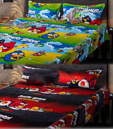 Buy Set of 2 Angry Birds Kids Double Bedsheet with 2 Pillow Cover bed-sheet online