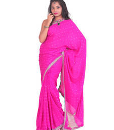 Buy Pink Stone work Crepe stone work crepe-saree with blouse crepe-saree online
