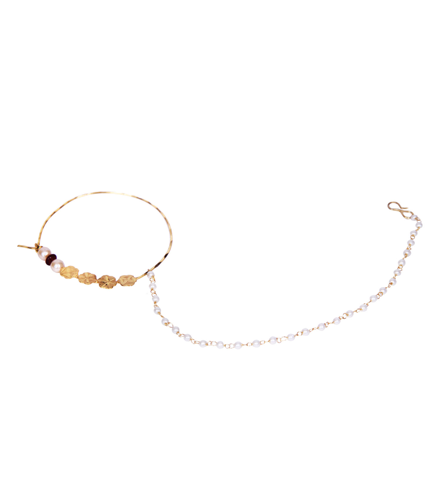 buy simple gold plated flower shaped maroon polki pearl