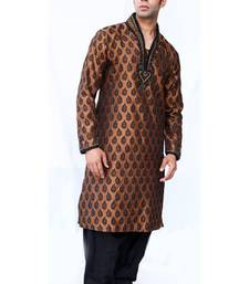 Buy brown brocade kurta_pyjama kurta-pajama online