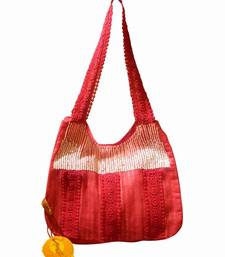 Buy Luscious Red colour sequined jhola bag handbag online