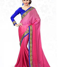 Buy Pink embroidered chiffon saree with blouse wedding-saree online