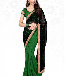 Buy Black and Green printed georgette saree with blouse georgette-saree online