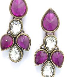 Buy Beautiful purple stone studded ear ring. stud online