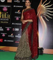Buy Deepika IIFA 2015 Red and beige embroidered Georgette and net saree with blouse deepika-padukone-saree online