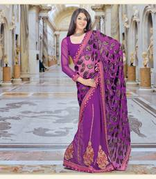 Buy Violet embroidered Net saree with blouse one-minute-saree online