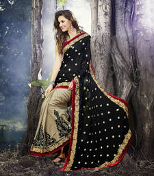 Buy Black and Beige Printed Cotton saree with blouse cotton-saree online