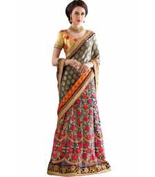 Buy Silver embroidered jacquard saree with blouse lehenga-saree online