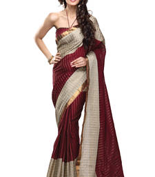 Buy Maroon  plain cotton saree with blouse cotton-saree online