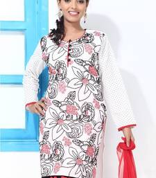 Buy Black , Red and White Full sleeves Cotton Suit dress-material online