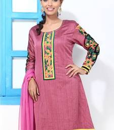 Buy Mauve Cotton Silk Embroidery kurti style suit dress-material online