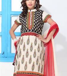 Buy Black, Red ,Yellow and White High Collar  Suit dress-material online