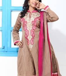 Buy Farrow Brown Cotton Silk Embroidery suit dress-material online