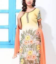 Buy Faux Georgette  Light Yellow and Orange Painted Suit dress-material online