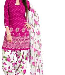 Buy Pink and White Semi Cotton unstitched salwar with dupatta patiala-salwar online