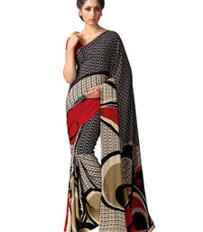 Buy Black printed silk saree with blouse silk-saree online