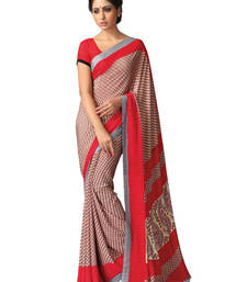 Buy Beige and Red printed silk saree with blouse silk-saree online