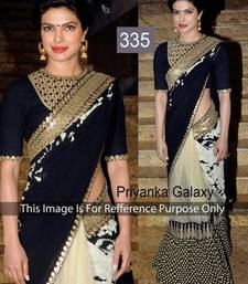 Buy black Zari work net saree with blouse priyanka-chopra-saree online