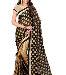 Buy Black and Gold printed chiffon saree with blouse below-1500 online
