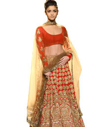 Buy Red embroidered Net unstitched bollywood-lehengas bollywood-lehenga online