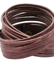 Buy Multi Strand Chocolate Brown Handcrafted Genuine Leather Strand Bracelet for Men Bracelet online