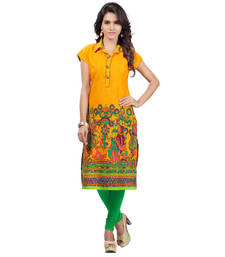 Buy Yellow Pure Cotton kurtas-and-kurtis kurtas-and-kurti online