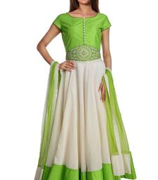 Buy White and Green embroidered Dupion Silk readymade-suits plus-size-salwar online