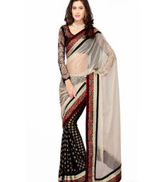 Buy BLACK   AND   BEIGE EMBROIDERY NET SAREE WITH BLOUSE shimmer-saree online
