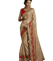 Buy BEIGE HAVY EMBROIDERY GEORGETTE SAREE WITH BLOUSE shimmer-saree online