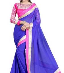 Buy PURPLE EMBROIDERY GEORGETTE SAREE WITH BLOUSE shimmer-saree online
