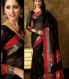 Buy Black  and  Red Plain cotton saree with blouse cotton-saree online