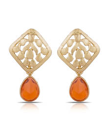 Buy Luxor Royal Orange Designer Earrings Freindship Day Special Jewellery Gift ER-1283 danglers-drop online