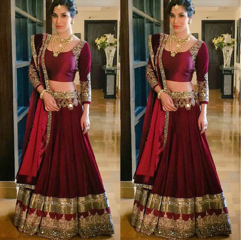 Buy Red Zari Worked Silk Designer Lehenga With Blouse Online