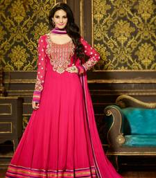 Buy Dark pink embroidered georgette semi stitched salwar with dupatta anarkali-salwar-kameez online
