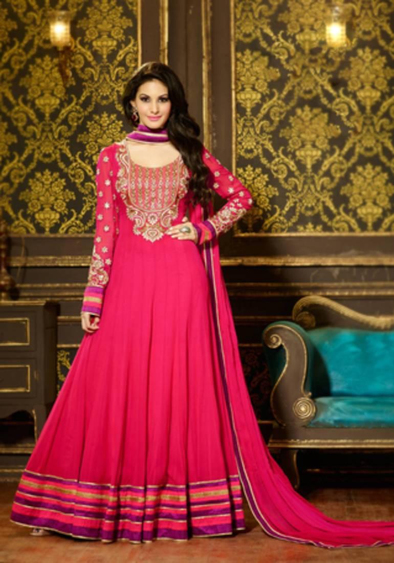Buy Dark Pink Embroidered Georgette Semi Stitched Salwar