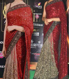 Buy Red and Cream embroidered georgette saree with blouse deepika-padukone-saree online