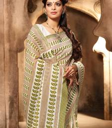 Buy Green and Brown printed cotton saree with blouse bengali-saree online