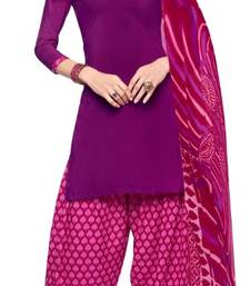 Buy Purple and Pink printed Crepe unstitched salwar with dupatta dress-material online