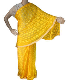 Buy Yellow embroidered chiffon saree with out blouse phulkari-saree online