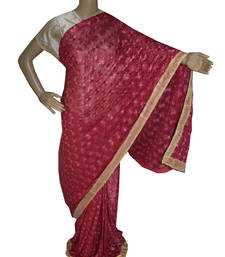 Buy Violet and red embroidered chiffon saree with out blouse phulkari-saree online