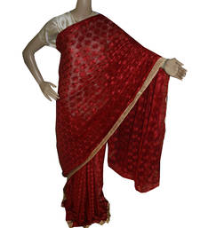 Buy Brown embroidered chiffon saree with out blouse phulkari-saree online