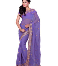 Buy Lavender embroidered georgette saree with blouse party-wear-saree online
