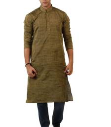 Buy Brown Blended Khadi men-kurtas men-kurta online