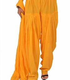 Buy Yellow Cotton Patiyala and Dupatta Set patialas-pant online