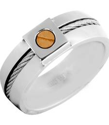 Buy Gold Rhodium Plated 316L Surgical Stainless Steel Wedding Engageent Band Ring for Men Ring online