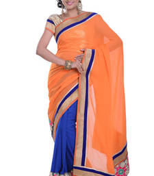 Buy BLUE+PEACH embroidered viscose-sarees saree viscose-saree online