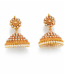 Buy ROYAL TRADIONAL ANTIQUE GOLDEN STONE STUDDED HANDMADE HANGING/JHUMKA/EARRINGS. jhumka online