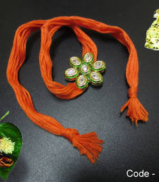 Buy Orange Kundan AD Rakhi rakhi-gift-hamper online